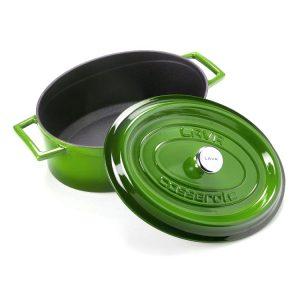zelený litinový hrnec