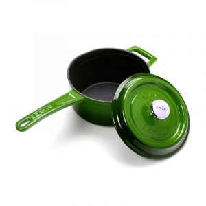zelený smaltovaný rendlík litina