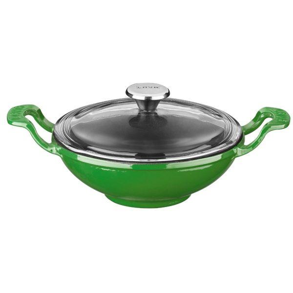 zelená litinová pánev wok s poklicí