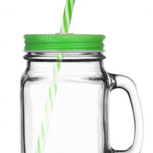 Sklenice s víčkem a brčkem 400ml - zelená od značky GLASMARK